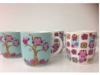 4 x cute owl mugs / cups set for sale in good condition