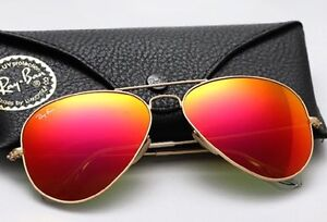Ray-Ban Aviator Matte Golden/Red Mirror Lens 58mm