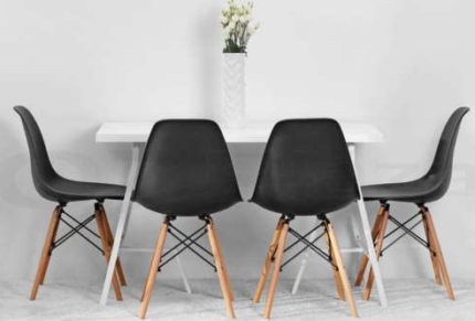 6 x Eames Replica Eiffel Dining Chairs (6 Chairs) in Black