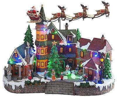 LED Lighted Santa Village Scene, Animated