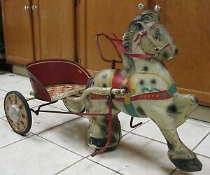2 Tin Pedal Harness racing horses 1950's?