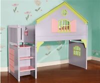 Dollhouse Loft Bed w/ Stairs and built-in dresser and bookshel