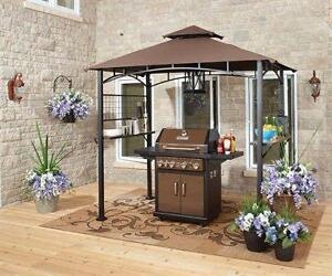 New in Box Sunjoy BBQ , Sanctuaries Gazebo / Canopy 5 ft W x 8-ft L Height: 8 feet Rectangle Brown Steel Standard Canopy