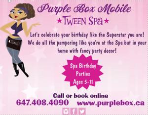 Purple Box Mobile Tween Spa -  Birthday Parties - Ages 5-11