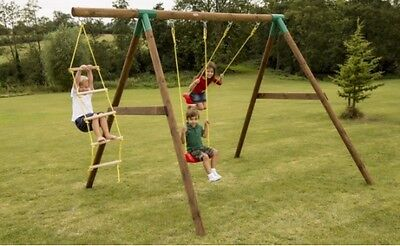 Little Tikes Riga Outdoor Wooden Double Swing Set With Climbing Ladder