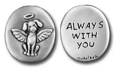 """Dog Angel Pewter Pocket Token """"Always With You"""" 0093"""