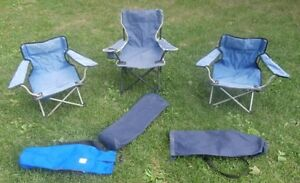 3 Kids Folding Camping Sling Chairs and Carrying Bags for Sale