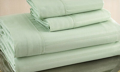 King Size Sage 500 Thread Count 100% Cotton Sateen Dobby Stripe Sheet Set