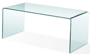 Bent glass condo sized waterfall coffee table