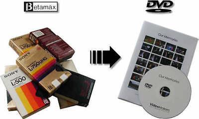 Transfer convert Betamax (NTSC/PAL/SECAM) Beta video tape to DVD or MP4
