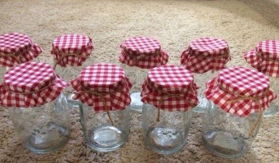 9 large gingham jam jars