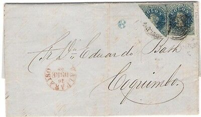 Chile 1858 BISECT Entire Letter Valparaiso to Coquimbo  Attractive Cover