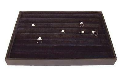Large Black Slotted Ring Pad In Tray Box Display Plush Felt Cushion For Jewelry