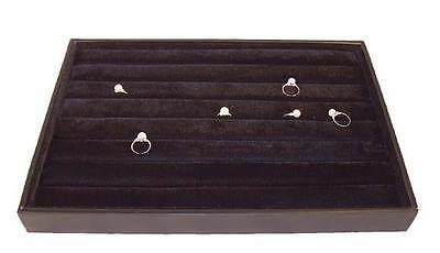 LARGE BLACK FELT PLUSH RING TRAY jewelry holder display cushion slots NEW BOX