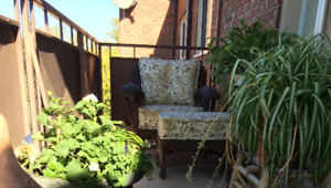 RESIN WICKER CLUB CHAIR AND FOOT STOOL