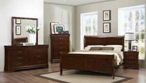 Queen Bedroom Set 6Pc $699 Cherry,White,Black #2147 Sleigh Bed