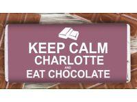 Personalised 'keep calm' chocolate bar
