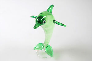 Aquarium MINIATURE HAND BLOWN Art GLASS Green Dolphins FIGURINE Collection