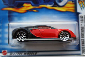 hot wheels bugatti veyron 2003 red black 1st edition new sealed 1 64 ebay. Black Bedroom Furniture Sets. Home Design Ideas