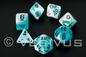 DICE-Chessex-Gemini-TEAL-BLUE-WHITE-7-Dice-Set-Marble-Shiny-d20-d10-RPG-d6-26444