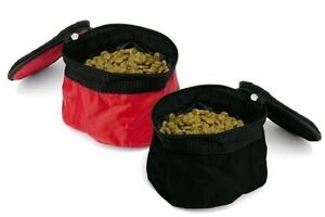 2-Folding-Travel-Hiking-Camping-Dog-Cat-Pet-Food-Water-Bowls-Dishes-Zipper-Top
