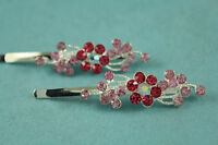 pair of Rhinestone Crystal Flower Hairpin Hair clips