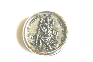 Metal St Saint Christopher Car Badge / Dashboard Plaque