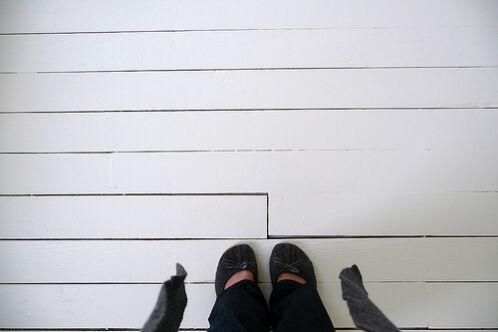 Witte houten planken vloer verschillende legpatronen voor houten