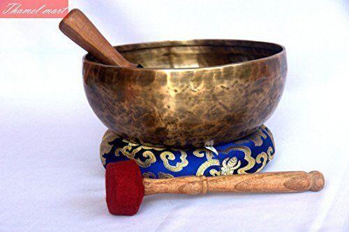 "9""Throat Chakra Old Tibetan Singing Bowl,massive mater healingsinging bowl Nepal"