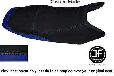 BLACK AND ROYAL BLUE VINYL CUSTOM FITS <em>YAMAHA</em> YBR 10 13 125 DUAL SEAT