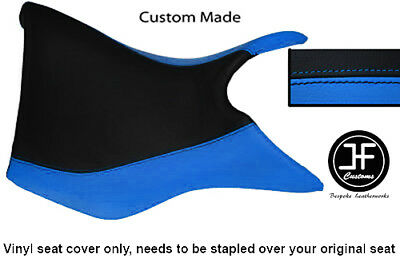 BLACK AND LIGHT BLUE VINYL CUSTOM FOR TRIUMPH TIGER 800 FRONT SEAT COV