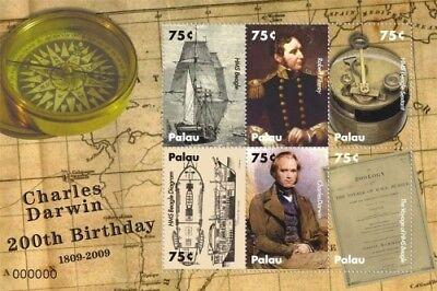 Palau- Charles Darwin 200th Birthday Anniversary Stamp Sheet of 6 MNH