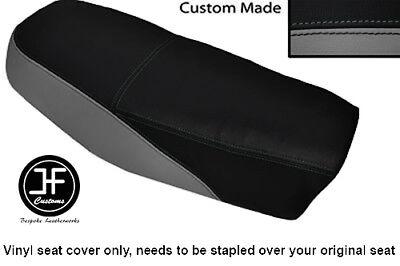 BLACK AND GREY VINYL CUSTOM FITS <em>YAMAHA</em> DT 50 MX DUAL SEAT COVER ONLY