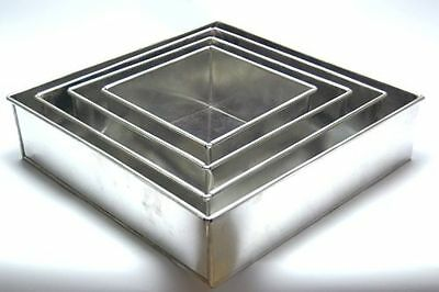 "SET OF 4-PIECE SQUARE SHAPE CAKE BAKING PANS BY EURO TINS 6""-12"" (5"" DEEP)"
