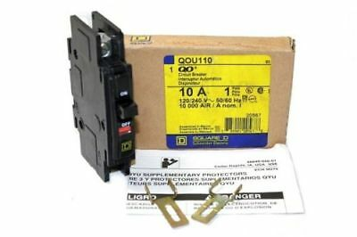 Square D Qou110 Circuit Breaker 10a 120-240v 1 Pole - New In Box