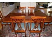 Dining Table-extendable with six chairs - two carvers - beautiful mahogany