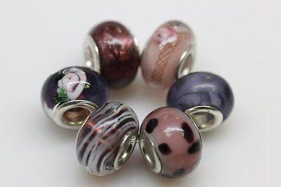 "Set of 6 Charms ""Beautiful Purple"" Murano Glass Beads Charms & Charm Bracelets"
