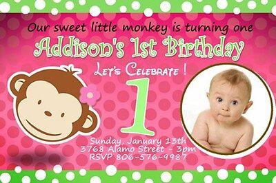 MOD MONKEY BIRTHDAY PARTY INVITATION PHOTO 1ST BABY SHOWER CUSTOM GIRL PINK C3