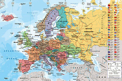 Laminated  Map Of Europe Poster  61X91cm  Educational Wall Chart Picture Print
