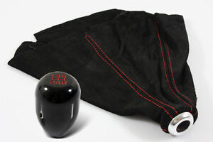 M10x1.5 JDM TYPE-R STYLE BLACK SHIFT KNOB+RED STITCH SUEDE BOOT FOR HONDA CIVIC