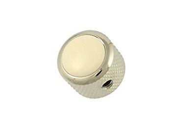 NEW Q Parts DOME KNOB Chrome & White Top Fits Strat Tele & Bass MK-3175-010