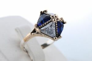 925 Sterling Silver & brass handmade sapphire topaz ring Cambridge Kitchener Area image 2