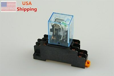 12v Dc Coil General Purpose Power Relay My2nj Hh52p-l 8pin 5a W Pyf08a Socket