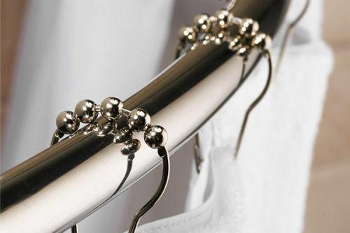 12 Polished Chrome Roller Ball Shower Curtain Rings Hooks Bath