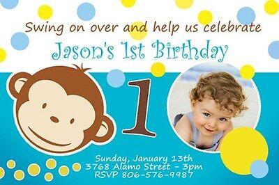 MOD MONKEY BIRTHDAY PARTY INVITATION PHOTO 1ST BABY SHOWER CUSTOM BOY INVITE C1