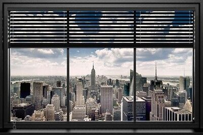 Fenster Poster (Poster USA New York durch das Fenster betrachtet 91,5 x 61 cm)