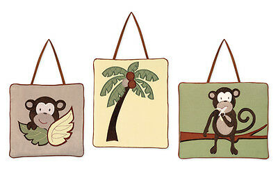 Wall Art Decor Hanging Sweet Jojo for Monkey Animal Jungle Baby Kid Bedding Set