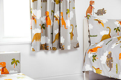 "Jurassic 66"" x 72"" Childrens Nursery Bedroom Curtains & Tiebacks Pencil Pleat"
