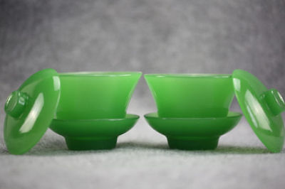 A PAIR CHINA EXQUISITE HANDMADE BEYOND COMPAR DELICATE JADE TEACUP  RN01