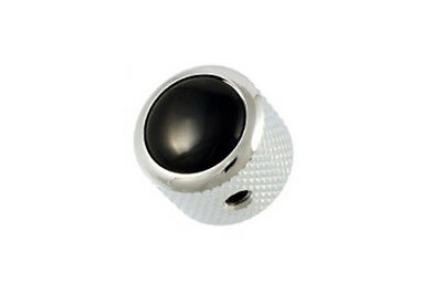 NEW Q Parts DOME KNOB Chrome & Black Top Fits Strat Tele & Bass MK-3176-010